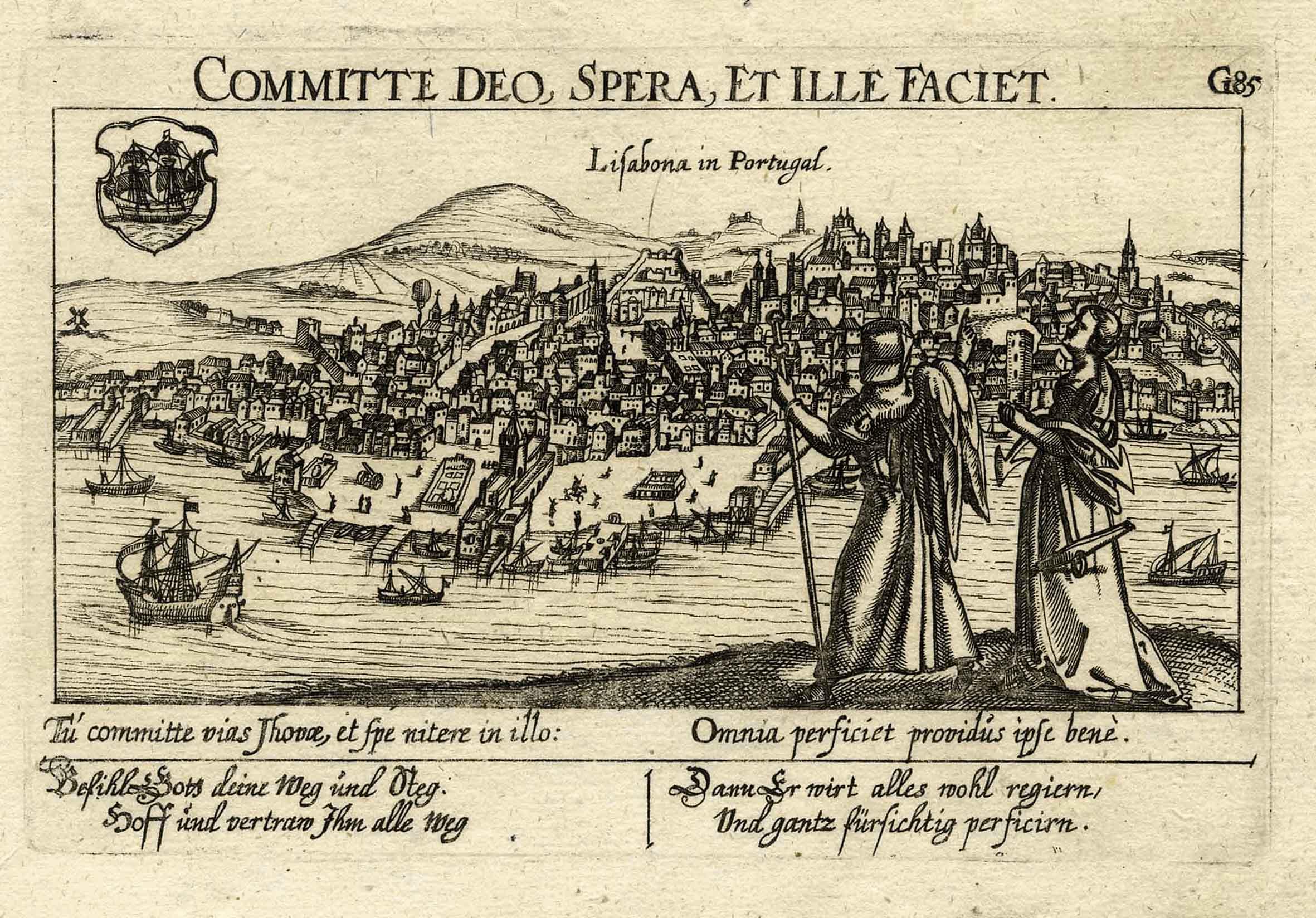 "Gesamtansicht, darunter Vers, ""Lisabona in Portugal. G85"".: Lissabon ( Lisboa"