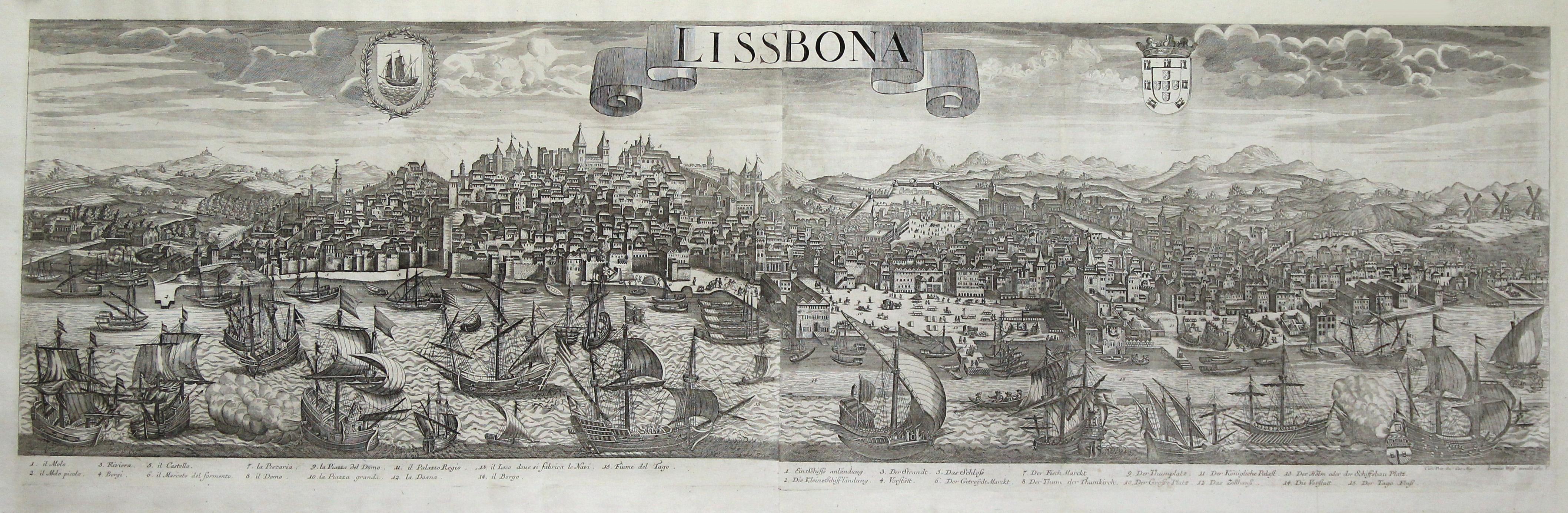 Gesamtansicht, darunter Erklärungen v. 1 - 15,: Lissabon ( Lisboa
