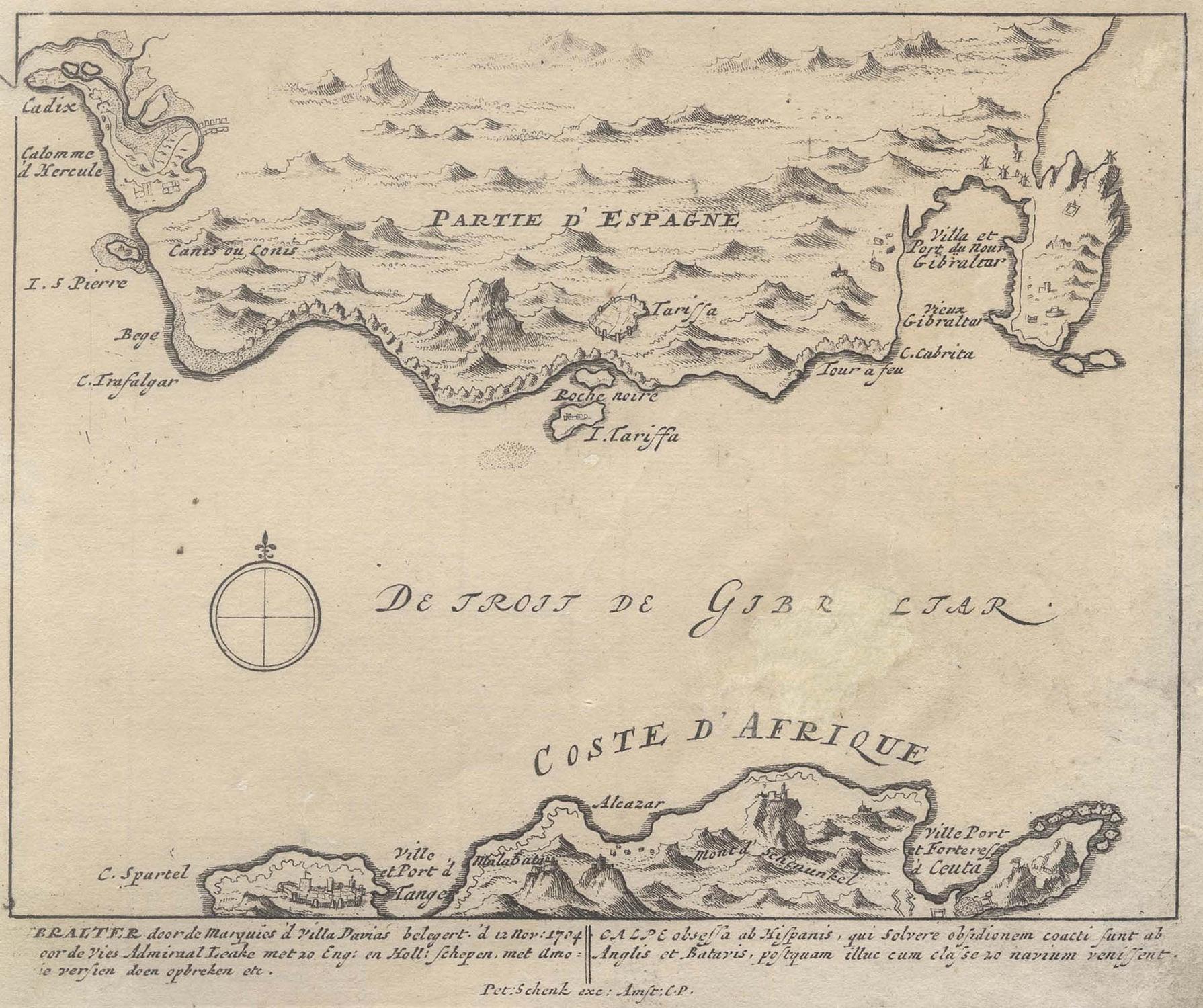 Meerenge Von Gibraltar Karte.Kupferstich Karte B P Schenk