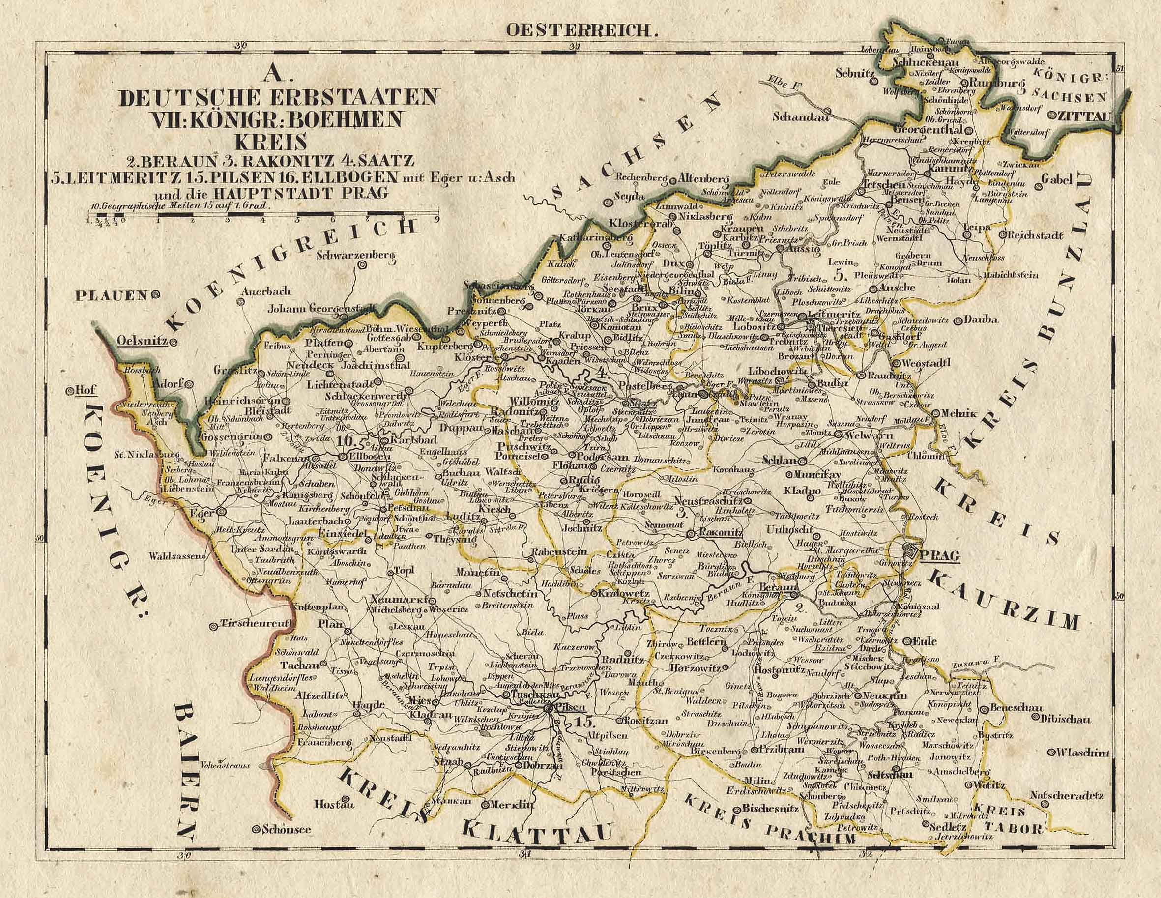 Prag Karte Europa.Litho Karte Aus Schliebens Atlas Von