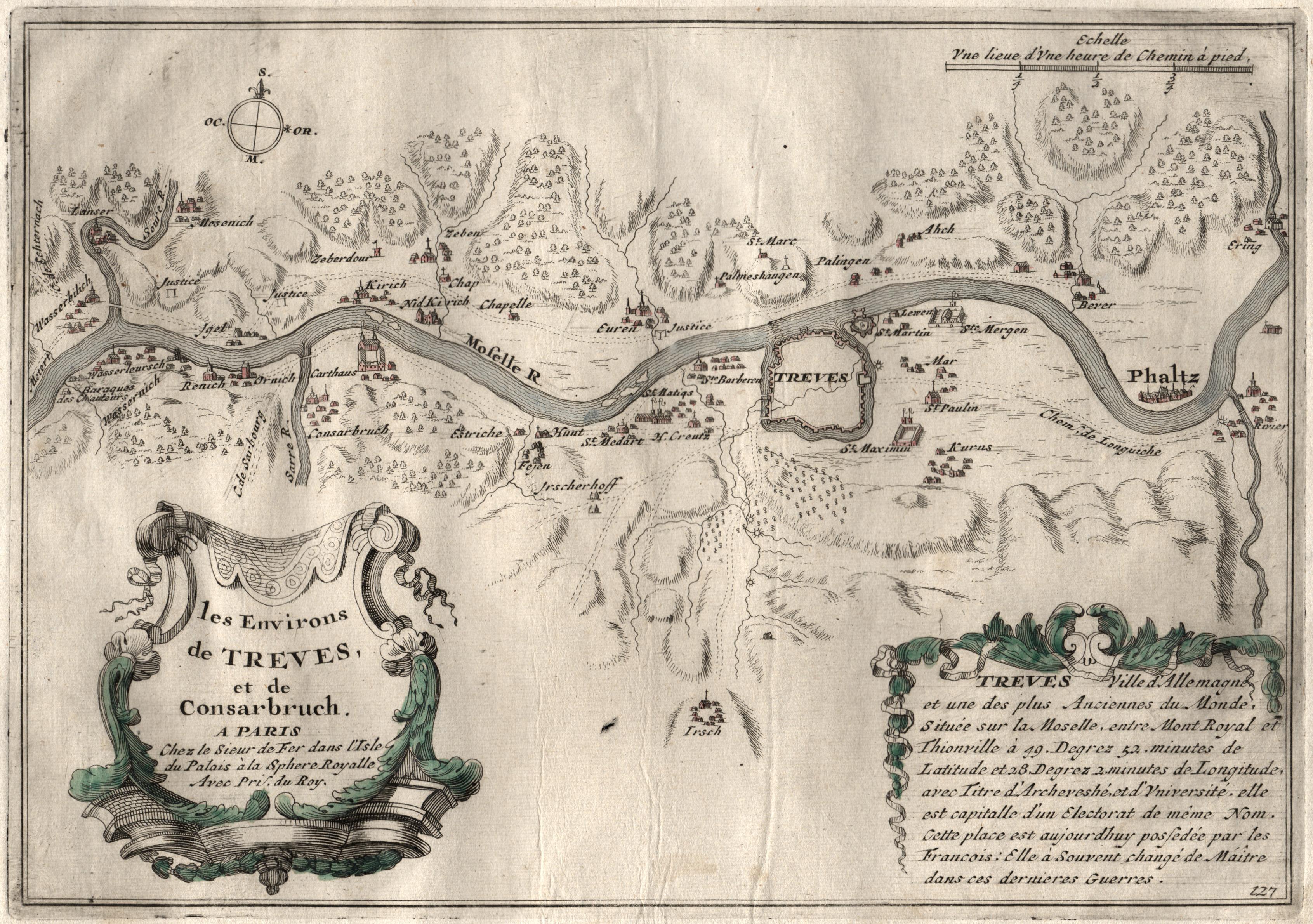 Trier Karte Umgebung.Kupferstich Karte N De Fer B P Mortier