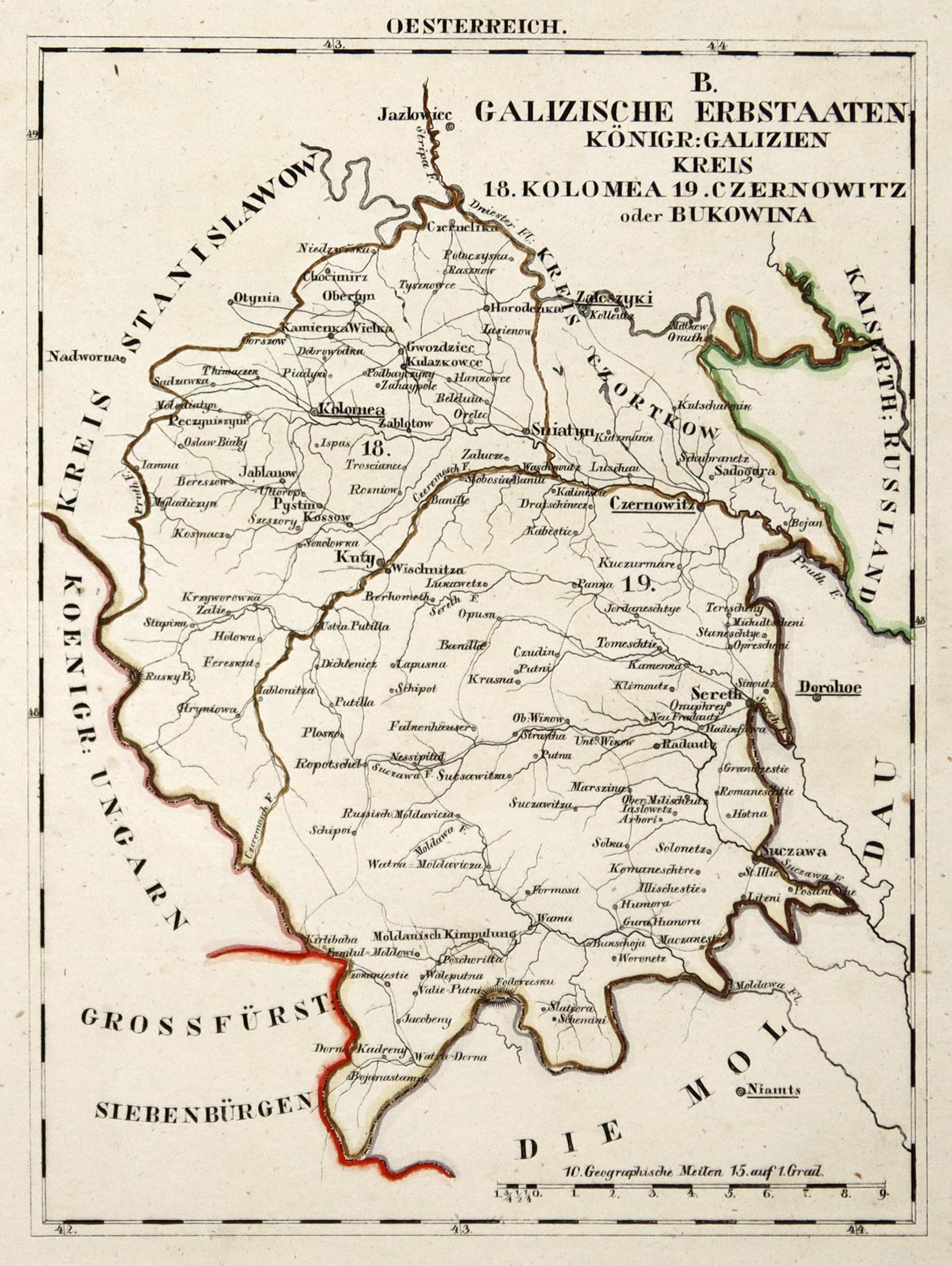 Galizien Karte.Litho Karte Aus Schliebens Atlas Von
