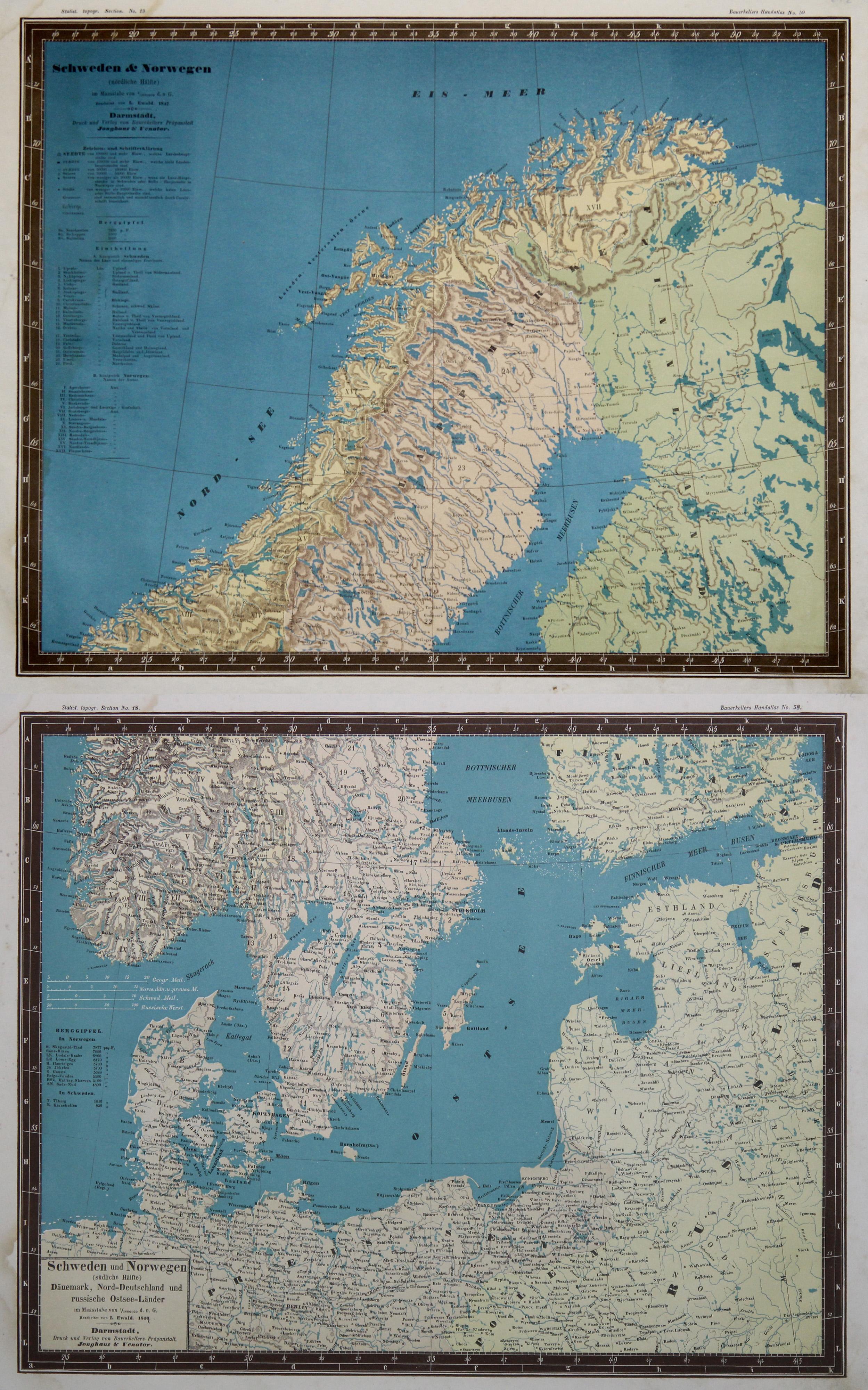 Karte Schweden Dänemark Deutschland.Litho Karte In 2 Blatt N L Ewald Aus
