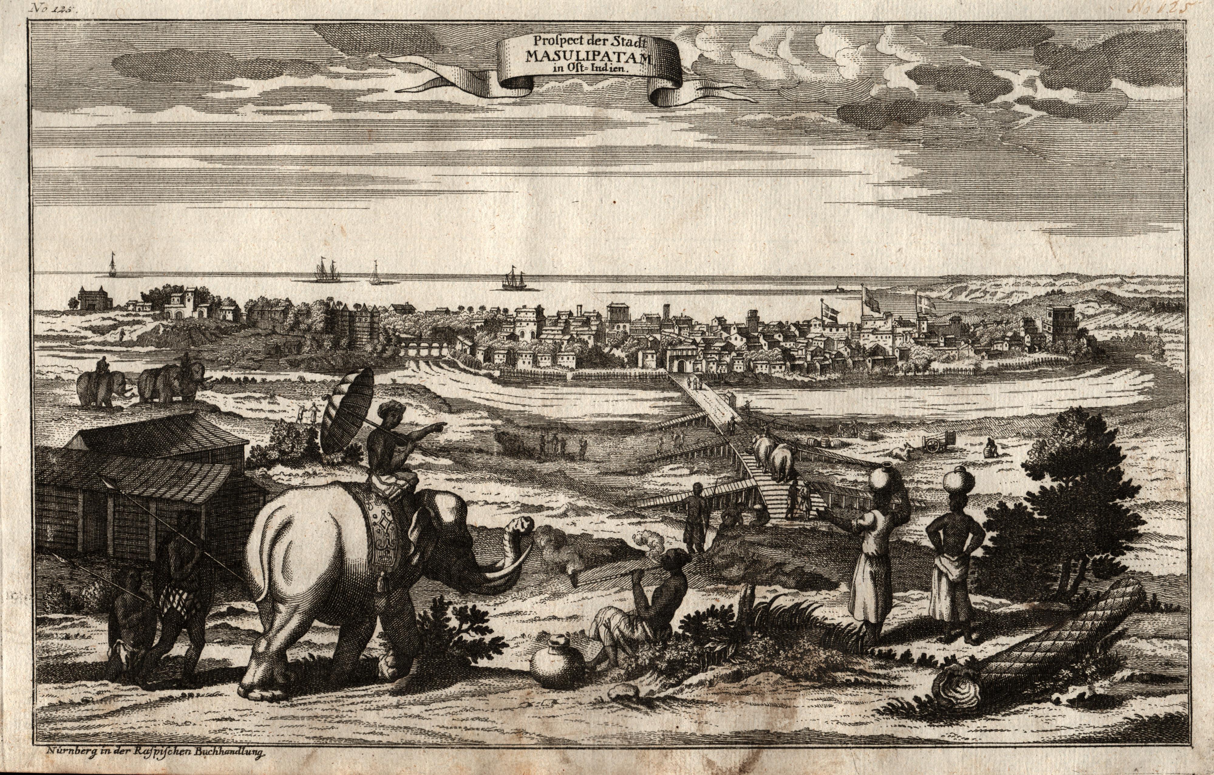 Ansichten & Landkarten Asien Orig Kupferstich Raspe 1763 Masulipatam Gesamtansicht