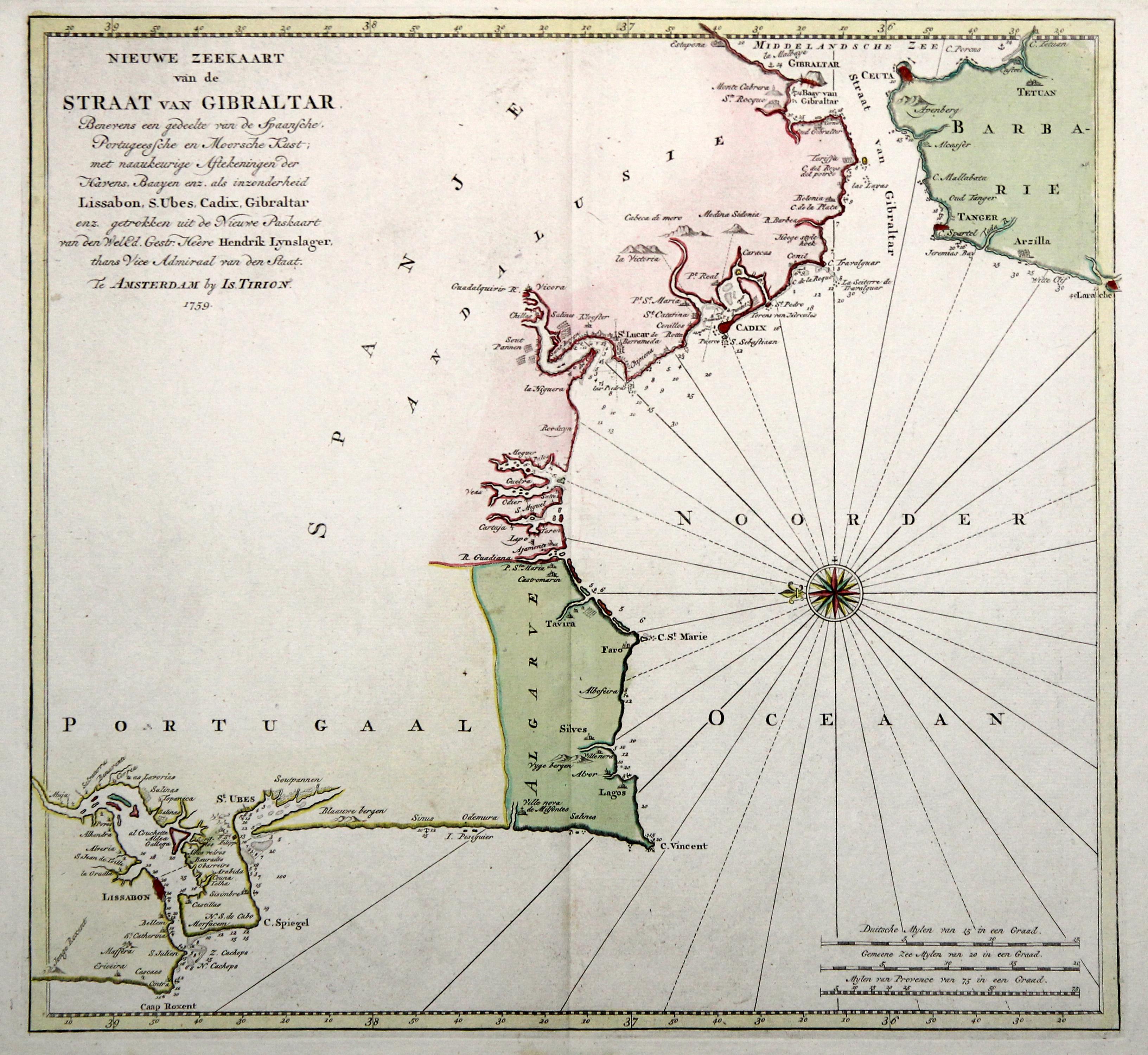 Meerenge Von Gibraltar Karte.Kupferstich Karte N H Lynslager B I