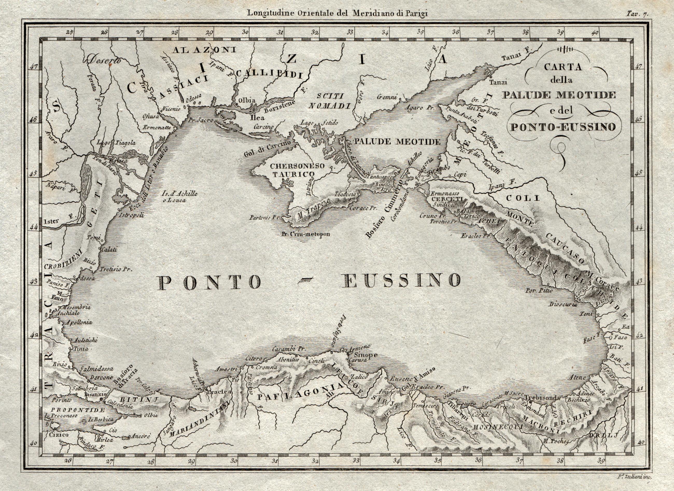 Kupferstich Karte V P Zuliani Carta Della Palude Meotide E