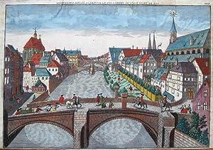 Prospect der drey Steinernen Brücken, über die Pegniz zu Nürnberg].: Nürnberg