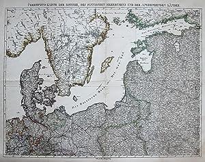 Übersichts-Karte der Ostsee, des Finnischen Merbusens und der angrenzenden Länder.: ...