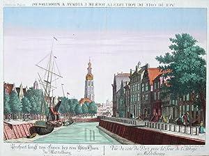 Prospect längst dem Haven bey den Abtey Thurn zu Middelburg. - Vue du coté du Port pres...