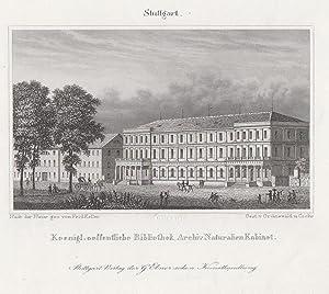 """Teilansicht, Bibliothek, """"Koenigl. oeffentliche Bibliothek. Archiv Naturalien Kabinet"""".: ..."""
