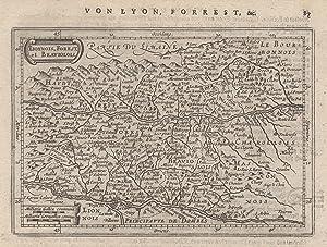 """Kupferstich- Karte, n. P. Kaerius b. Janssonius, """"Lionnois, Forest et Beauiolois"""".: Lyon ( ..."""