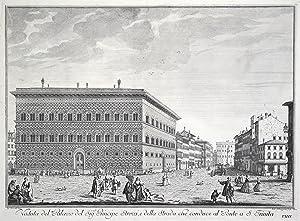"""Teilansicht, Innenstadtansicht mit Palazzo Strozzi, """"Veduta del: Florenz ( Firenze"""
