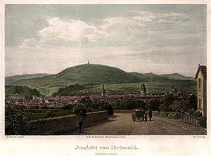 """Gesamtansicht, das Hermannsdenkmal im Hintergrund, """"Ansicht von Detmold"""".: Detmold:"""