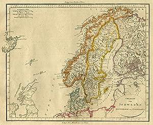 Karte Norwegen Dänemark.Kupferstich Karte Anonym
