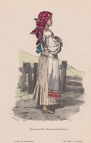 """Kroatisches Bauernmädchen."""", im Profil.: Kroatien ( Croatia / Croatie ): Tracht ( Costume ):"""