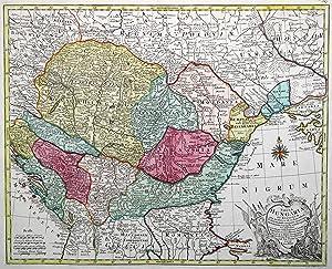"Kupferstich- Karte, n. F, de L' Isle v. G. F. Lotter b. C. T. Lotter, ""Tabula Hungaria et ..."