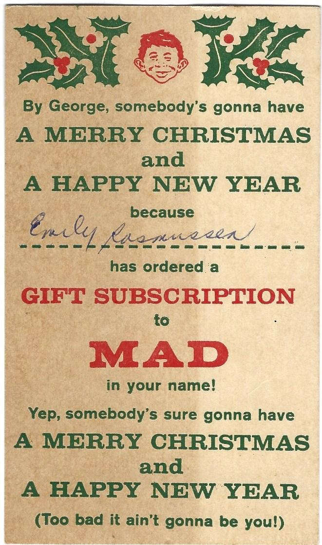 Gift Subscription To Mad Postcard By Mad Magazine Mad New