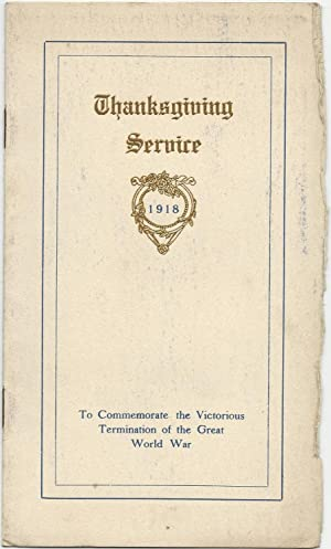 Programme of Thanksgiving Service 1918