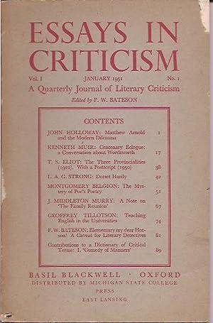Essays in Criticism; Quarterly Journal of Literary Criticism, Vol. I, No. 1, January 1951: Bateson,...