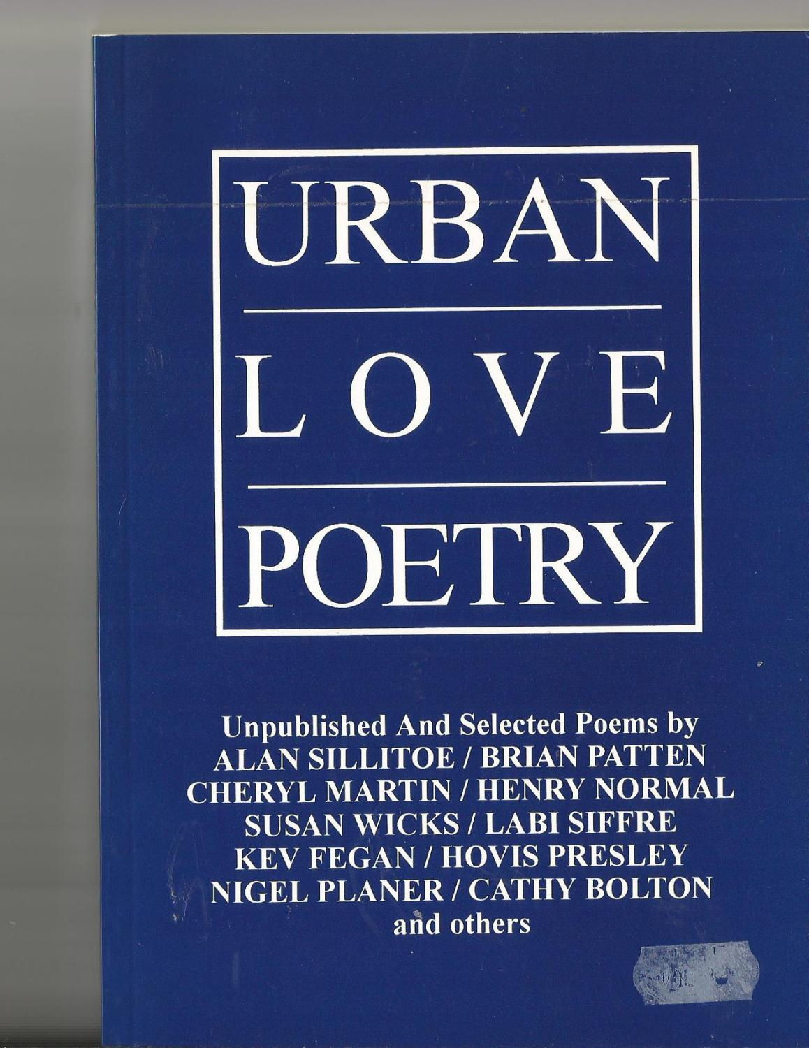 Urban Love Poetry By Sillitoe Labi Siffre Nigel Planer Brian Platten Etc Compiled Darren Poyzer Ak Press Edinburgh 9781873176214 Pictorial Card Covers