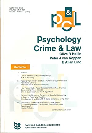 Psychology Crime and Law; Volume 1 Number 1