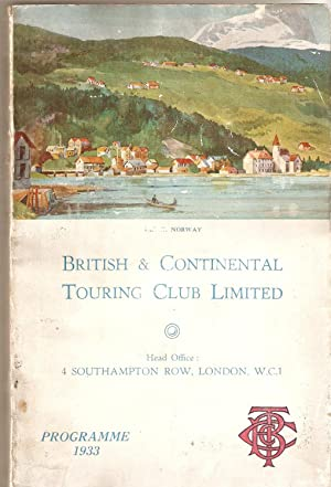 British and Continental Touring Club Limited. Programme 1933
