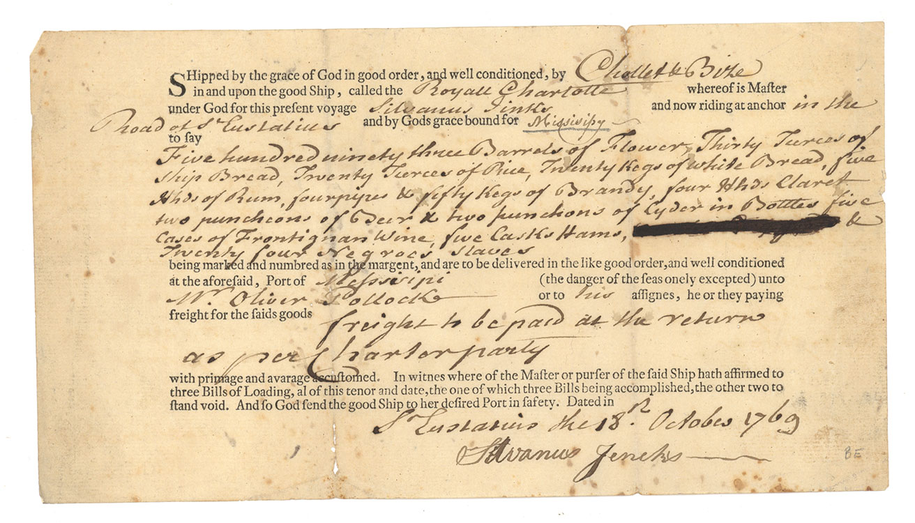 partially printed bill of lading of the royal charlottes of cargo