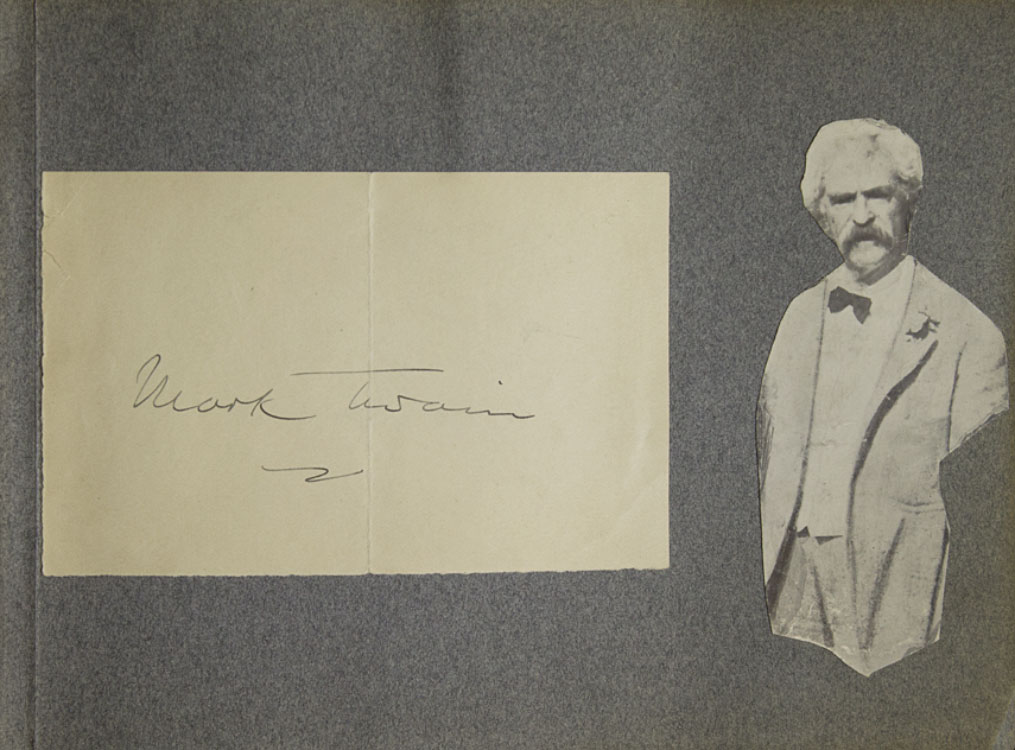 Autograph of Mark Twain [in:] Autograph Album of American Literary Figures collected by Elsie Plant, 1903-4