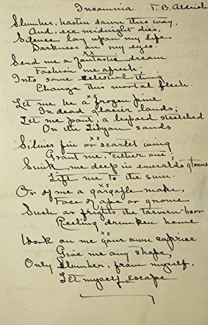 Autograph manuscript copies of select stanzas from his Poems