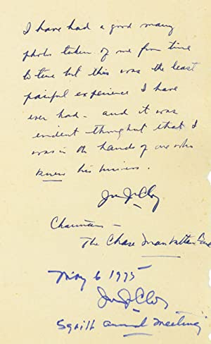 Autograph Note Signed to Alfred Eisenstaedt, n.p., n.d; with brief inscription dated May 1975