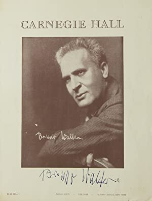 Carnegie Hall Program, SIGNED BY BRUNO WALTER