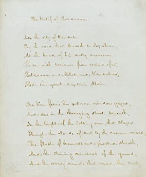 Autograph Manuscript, signed and dated, of his: Longfellow, Henry Wadsworth