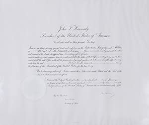 Engraved broadside document of Robert S. McNamara's Appointment as Secretary of Defense. Signed b...