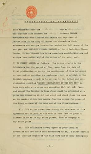 Memorandum of Agreement 1 December 1909 between George Routledge and Sons Limited Publishers and ...