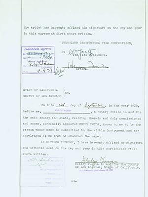 Typed Contract Signed between Fonda and Twentieth-Century: Fonda, Henry