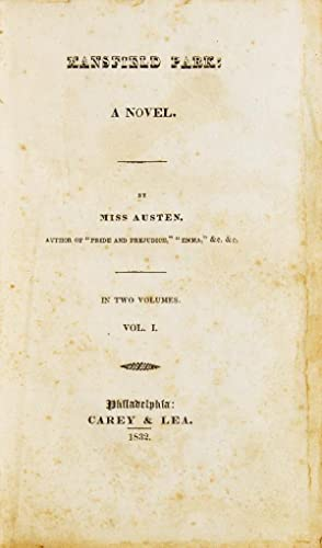 Mansfield Park. A Novel. By Miss Austen: Austen, Jane