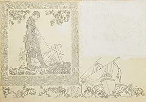 Three original ink drawings to illustrate the: FAULKNER, William) Shenton,