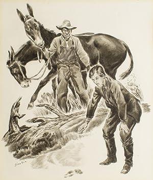 Original ink drawing for The Saturday Evening: FAULKNER, William) Shenton,