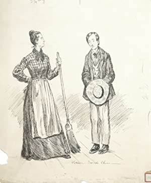 Drawing of standing couple (irate mother and abashed son)