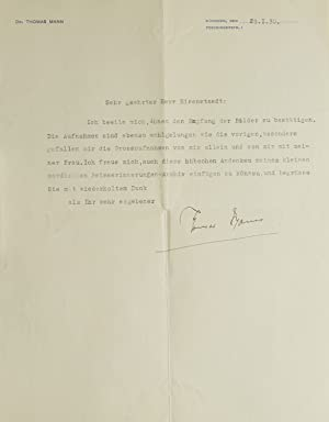 Typed Letter, Signed, to Alfred Eisenstaedt, on Munich letterhead, thanking him for portrait phot...