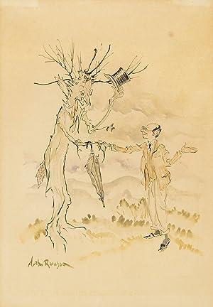 Self-Portrait with an Anthropomorphic Tree. Pen and: Rackham, Arthur