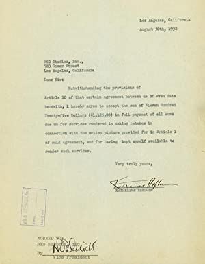 Mimeograph typescript, agreement between Katharine Hepburn and RKO Studios , Inc