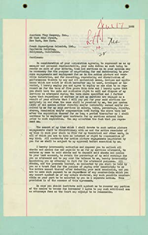 Typescript document, management contract between Katharine Hepburn, the American Play Company, In...