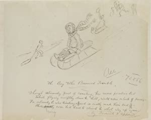 "Drawing entitled ""The Boy who Borrowed Trouble,"" depicting a boy on a sled, with a ..."