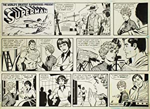 Superman: multi-panel page of original Sunday newspaper: Superman) Tuska, George