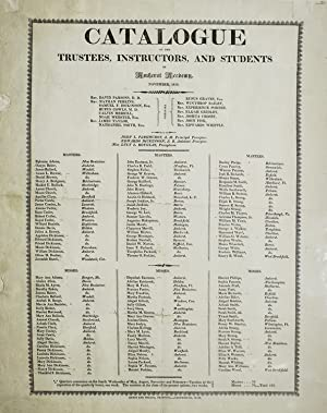 Catalogue of the Trustees, Instructors, and Students: AMHERST; Emily DICKINSON)
