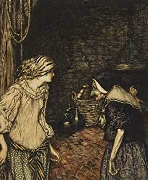At last she reached the cellar, and: Rackham, Arthur (British,