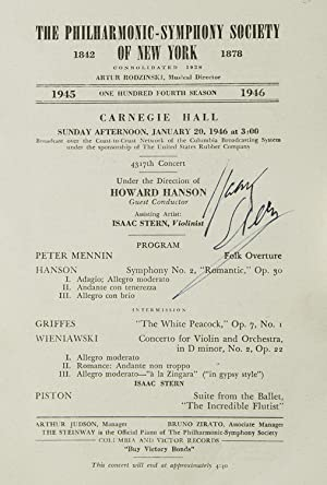 Carnegie Hall Program, SIGNED BY ISAAC STERN, violinist, who performed with the Philharmonic-Symp...