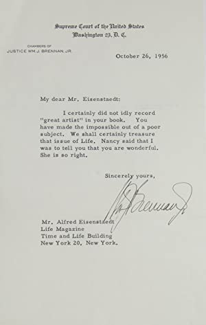 Typed Letter, Signed, to LIFE photographer ALFRED EISENSTAEDT