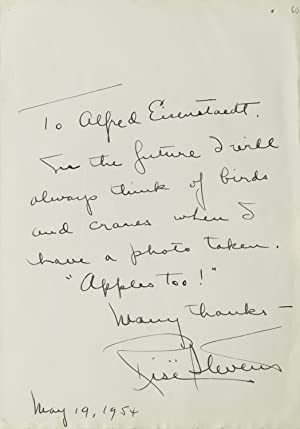 Autograph Note signed, to Alfred Eisenstaed